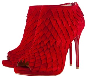 Christian Louboutin Thigh High Ankle Platform Pump Red Boots