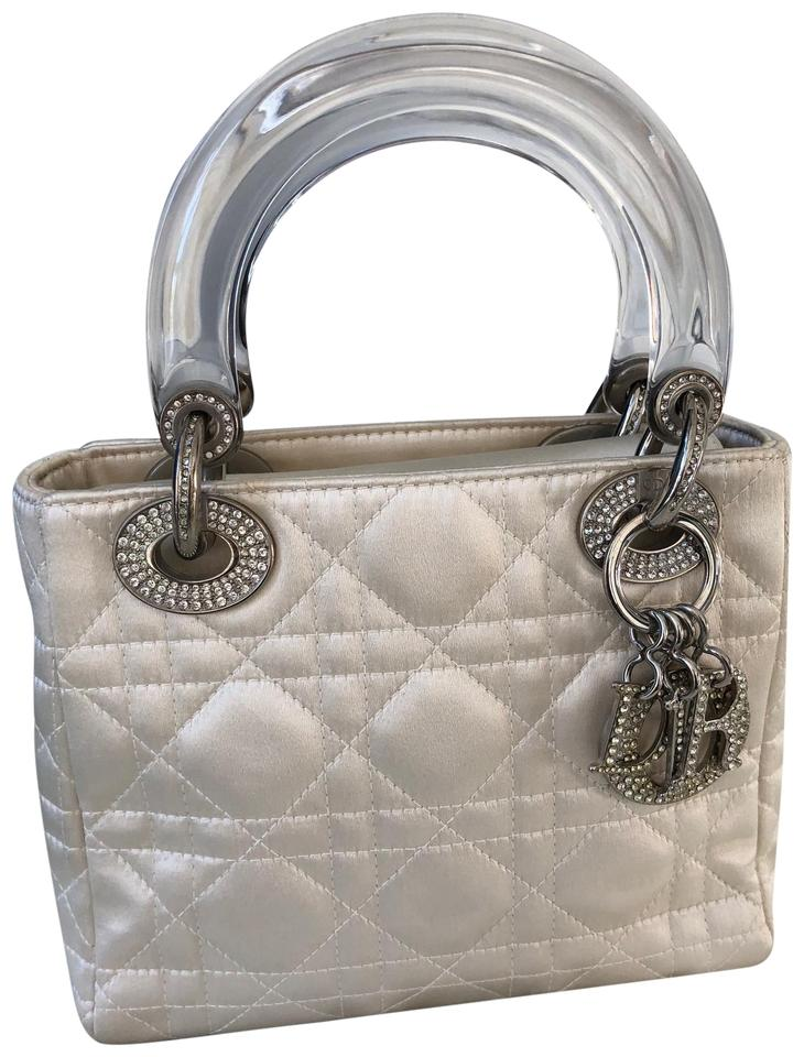 f79090a83f2 Dior Lady Cannage Mini Off White Satin Satchel 49% off retail