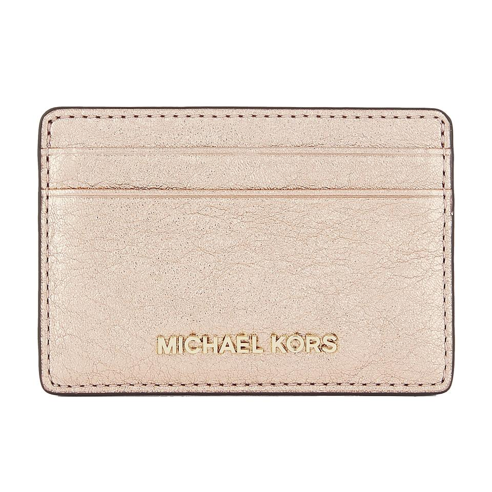 296155ec4624 Michael Kors Money Pieces Rose Gold Leather Boxed Card Case Mini Wallet NWT  Image 0 ...