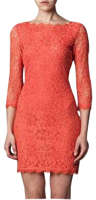 Diane von Furstenberg Pink Grapefruit (Coral Orange) Dvf Zarita Lace Scoop Back Mid-length Night Out Dress Size 10 (M) Diane von Furstenberg Pink Grapefruit (Coral Orange) Dvf Zarita Lace Scoop Back Mid-length Night Out Dress Size 10 (M) Image 1