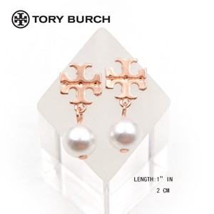 Tory Burch New Tory Burch Metallic Logo Faux Pearl Drop Earrings