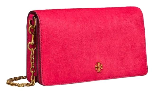 Tory Burch Clutch Cleo Calf Hair Fold-over Red Leather Cross Body Bag Tory Burch Clutch Cleo Calf Hair Fold-over Red Leather Cross Body Bag Image 1