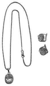 unknown Sterling Silver Rhodium Plated CZ Necklace With Matching Post Clip Earrings