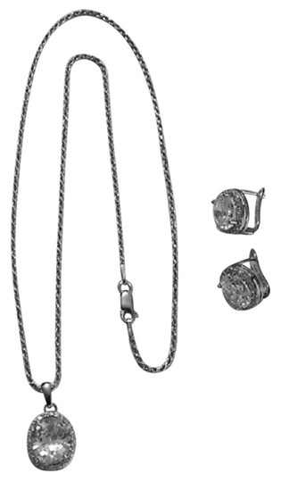 Preload https://img-static.tradesy.com/item/2297816/silver-sterling-rhodium-plated-cz-with-matching-post-clip-earrings-necklace-0-0-540-540.jpg