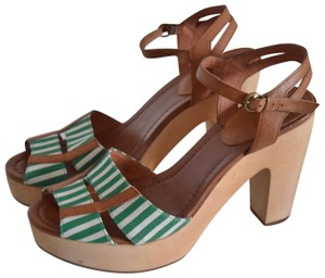 Madewell green and white Sandals