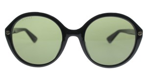 Gucci NEW Gucci GG0023S Rounded Black Gold Logo Sunglasses