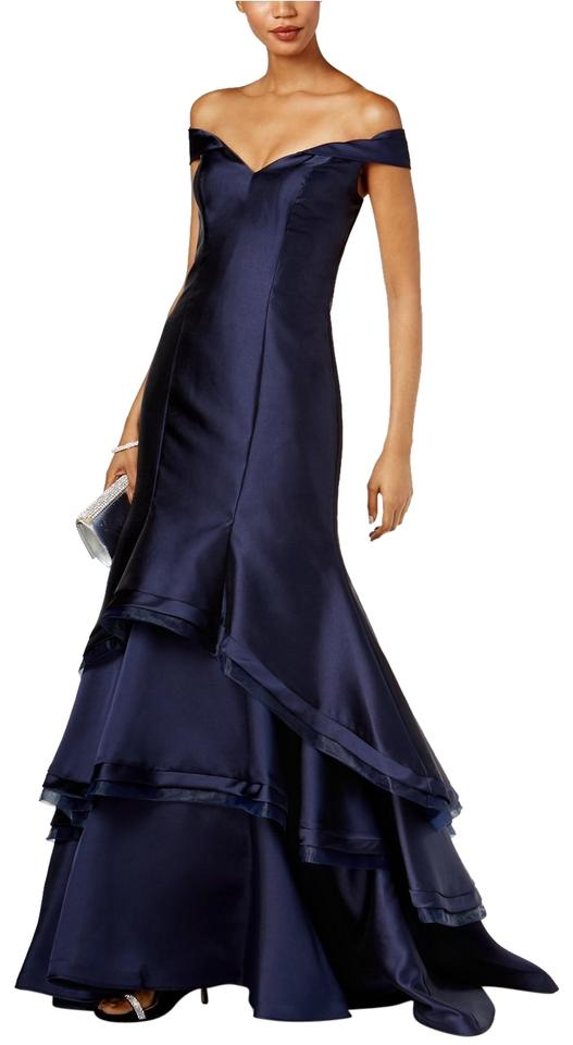 Xscape Navy Ruffled Off-the-shoulder Gown Long Formal Dress Size 6 ...