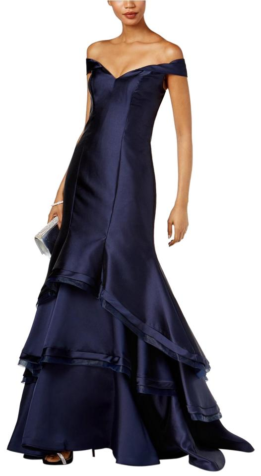 Xscape Navy Ruffled Off-the-shoulder Gown Long Formal Dress Size 2 ...