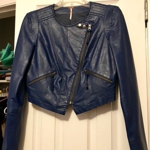 44db119cc9 Free People Faux Leather Biker Sold Out Moto Spring Blue Jacket