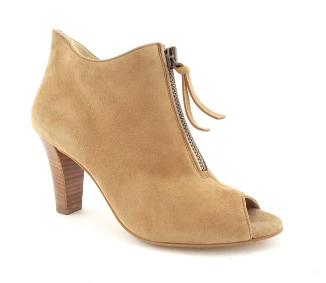 Item - Deer Beige Nubuck Leather Front Zip Peep Toe Boots/Booties Size US 8.5 Regular (M, B)