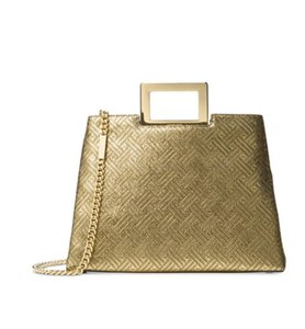 Michael Kors Stud Saffiano Navy Tote in pale gold