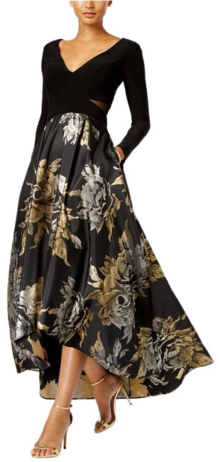Item - Black/Silver/Gold High-low Brocade Gown Black/Silver/Gold Long Formal Dress Size 14 (L)