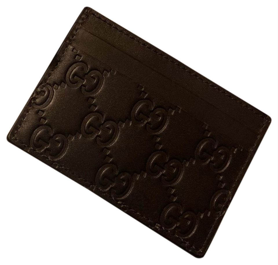Gucci Brown Signature Leather Card Case Wallet - Tradesy