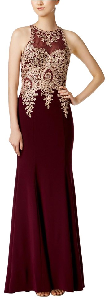 Xscape Wine/Gold Floral-lace Mermaid Gown Wine/Gold Long Formal ...