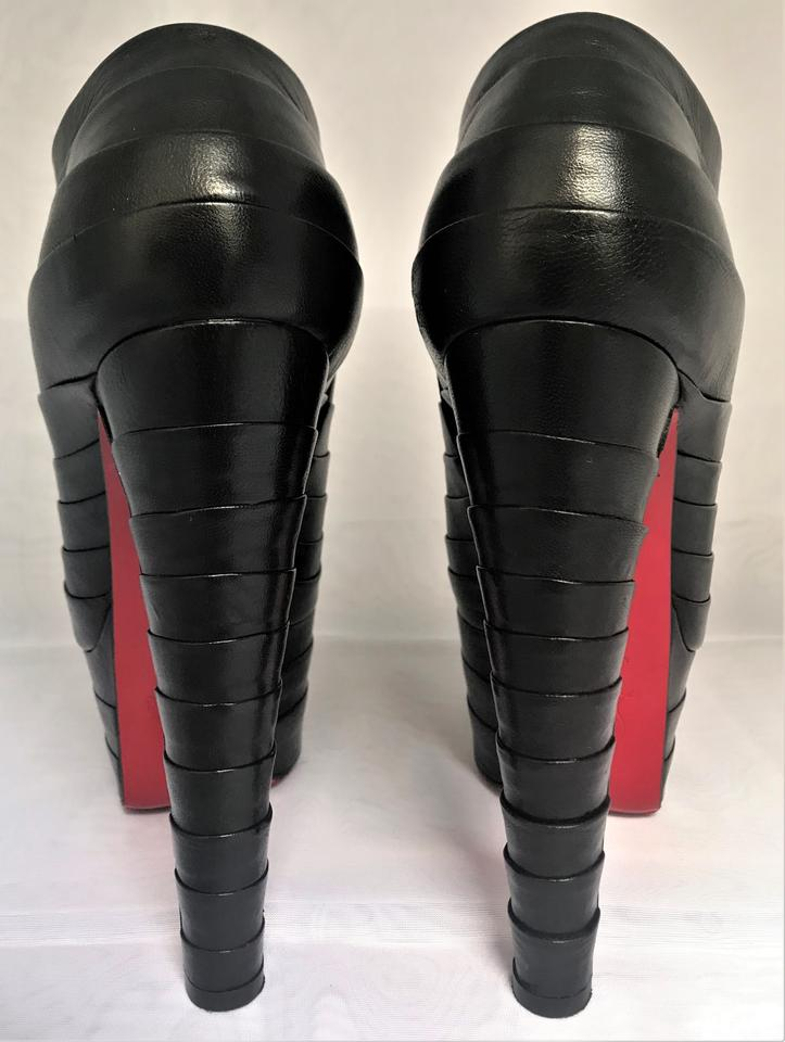 530c6db1fe2 Christian Louboutin Black Platform High Heel Toe Red Sole Zip Alti Lady  Leather Ankle Italy Boots/Booties Size EU 38.5 (Approx. US 8.5) Regular (M,  B)