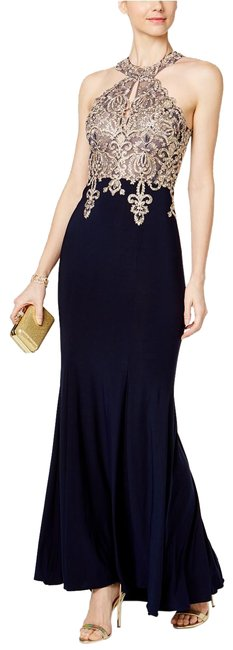 Item - Navy/Gold Embroidered Mesh Halter Gown Navy/Gold 2p Long Formal Dress Size Petite 2 (XS)
