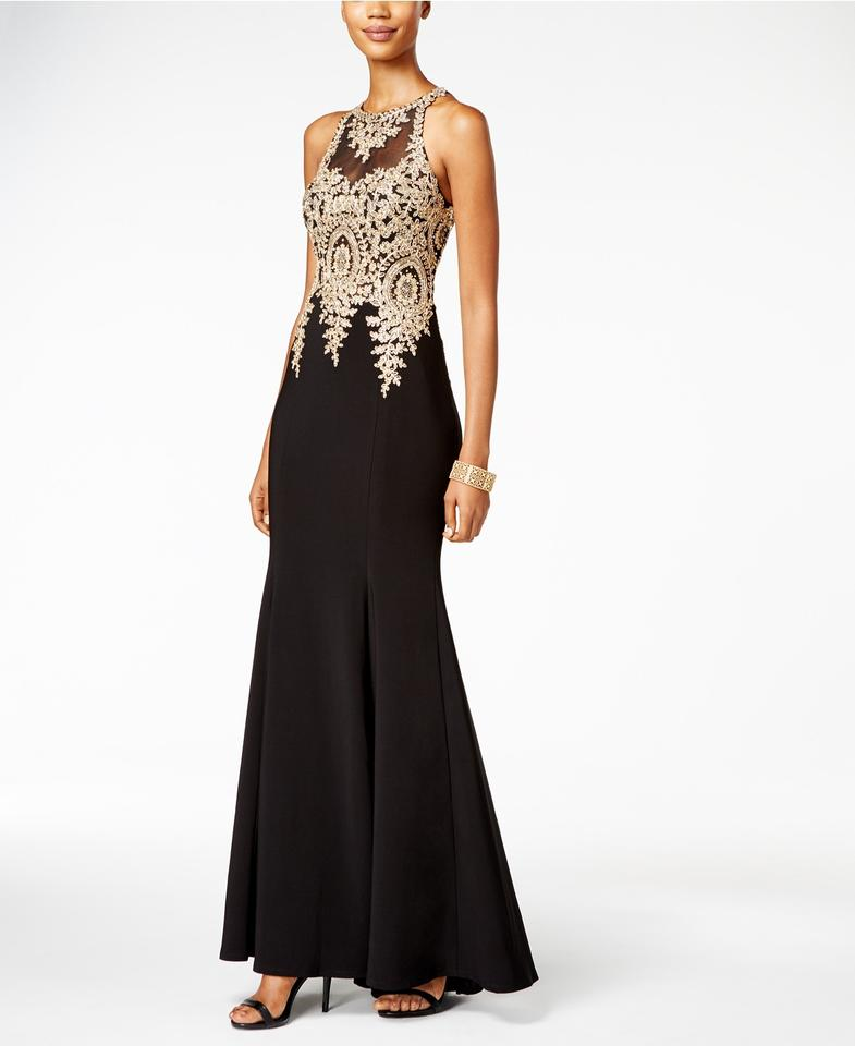 Xscape Blackgold Embroidered Mesh Mermaid Gown Blackgold Long