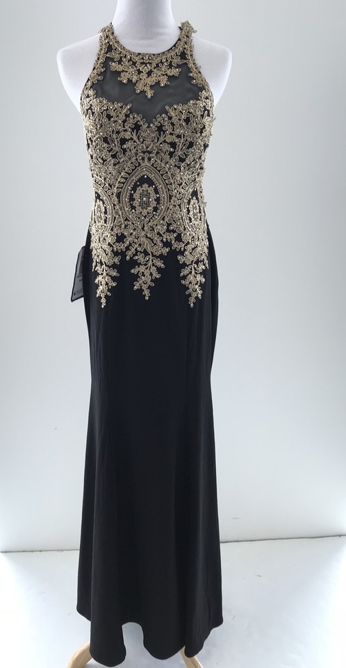 Xscape Black/Gold Embroidered Mesh Mermaid Gown Black/Gold Long ...