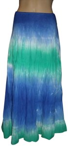 WD.NY Tie Dye Tiered Hippie Festival Maxi Skirt Multi-Color