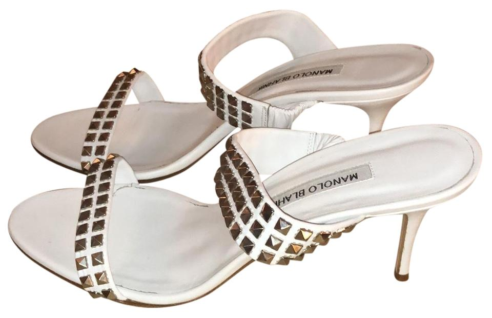 Manolo Blahnik White Studded Studded White Two-piece Sandals 3442e3