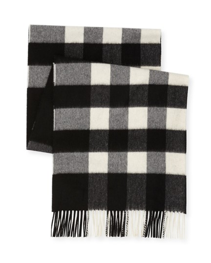 Burberry AUTHENTIC NEW Burberry Half Mega Check Cashmere Scarf black and white Image 1