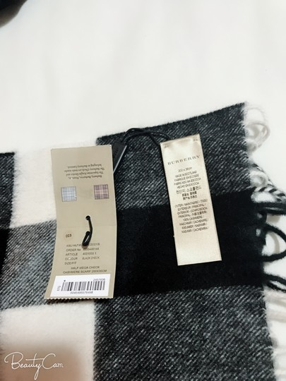 Burberry AUTHENTIC NEW Burberry Half Mega Check Cashmere Scarf black and white Image 11