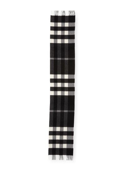 Burberry AUTHENTIC NEW Burberry Half Mega Check Cashmere Scarf black and white Image 2