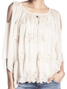 Tempo Paris 3/4 Sleeves Embroidered Super Breezy Cool + Comfy Made In Italy Top Ivory