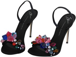 Giuseppe Zanotti Black Suede Multicolor Crystal Sandals