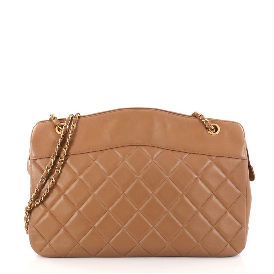 e0175e5e9826 Chanel Vintage Zipped Chain Tote Quilted Large Brown Leather Shoulder Bag -  Tradesy