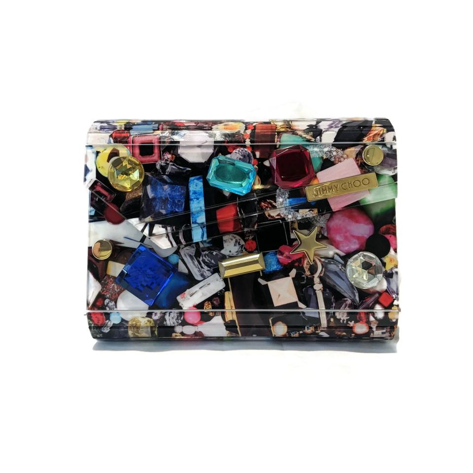 17e1f974c938 Jimmy Choo Candy Jewel Print with Crystals Multicolor Acrylic Clutch -  Tradesy