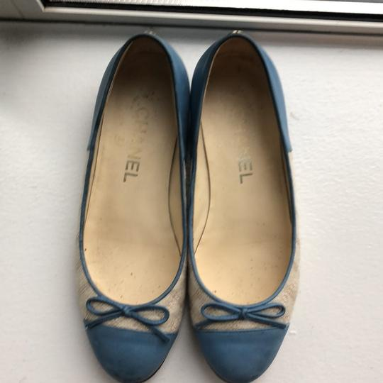 Chanel light blue and beige Flats