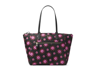 Michael Kors Extra Large Denim Tote in black ultra pink