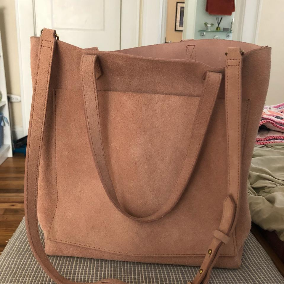 38afe8289 Madewell Medium Transport Light Pink Suede Leather Tote - Tradesy