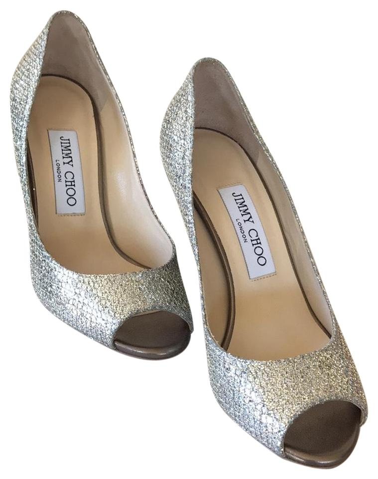 b45759bacf5 Jimmy Choo Baxen Glitter Peep-toe Pump Wedges Size US 6.5 Regular (M ...