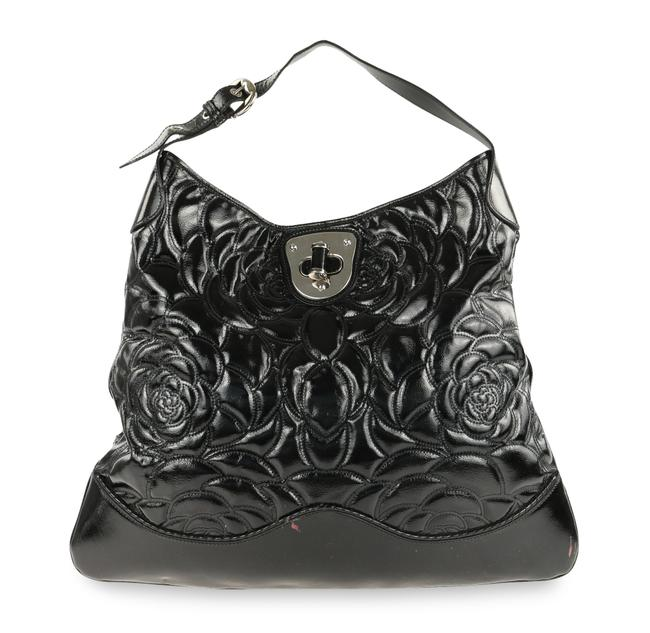 Item - Black Matelassé Patent Leather Floral Hobo