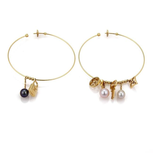 Louis Vuitton X19285 Pearls 18k Gold Logo Dangling Charms Extra Large Hoop Earrings Louis Vuitton X19285 Pearls 18k Gold Logo Dangling Charms Extra Large Hoop Earrings Image 1