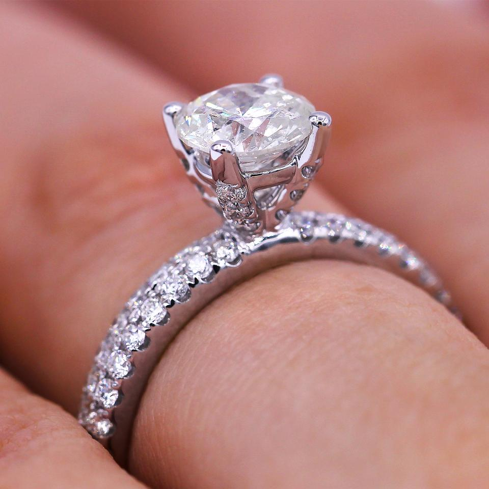 Double Row Pave Diamond Engagement Ring - Tradesy