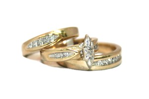 Diamond Yellow Gold Tri 10k Couple Engagement Ring