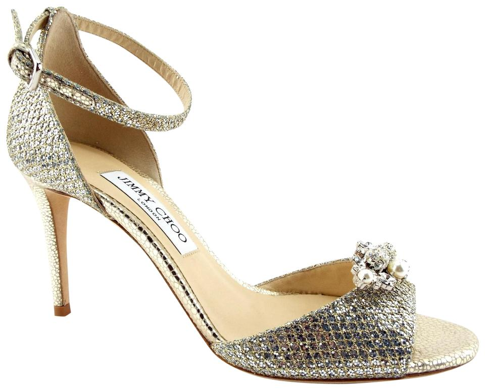 146dca191776 Jimmy Choo Champagne Glitter Crystal Pearl Charm Convertible Ankle Strap  Pump Sandals