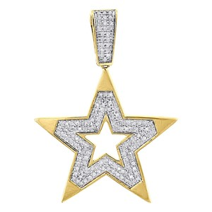 Jewelry For Less 10K Yellow Gold 5 Point Diamond Star Pendant Fashion Pave Charm .59 CT