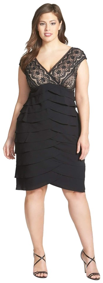 Adrianna Papell Black Lace Bodice Tiered Short Cocktail Dress Size ...