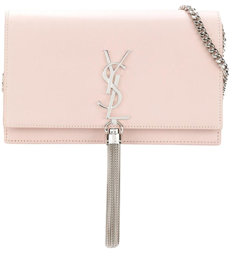 ffdf0681c44 Saint Laurent Monogram Classic Last One Ysl Small Kate Tassel In Nude  Marble Pink Leather Cross Body Bag