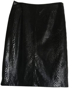 Austin Reed Snakeskin Skirt black leather