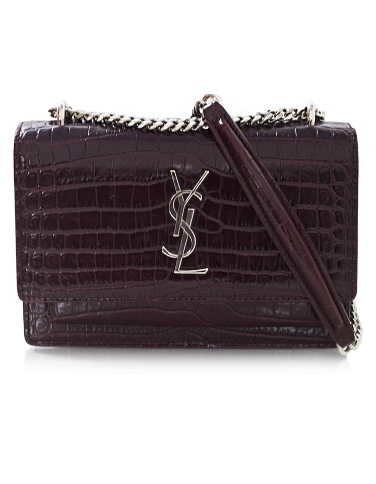 Cross Monogram Sunset Chain Body Leather Bag With Saint Laurent Mini Croc Wallet Burgundy Embossed xUPFFw