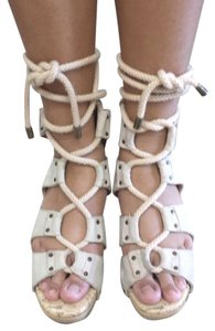 DEREK LAM Lace Gladiator 37 BEIGE Sandals