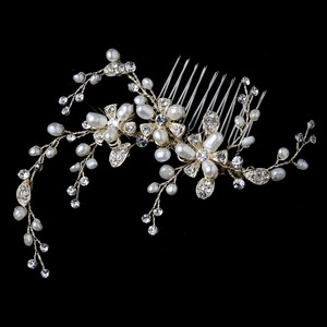 Elegance by Carbonneau Gold Freshwater Pearl and Rhinestone Vine Comb Hair Accessory