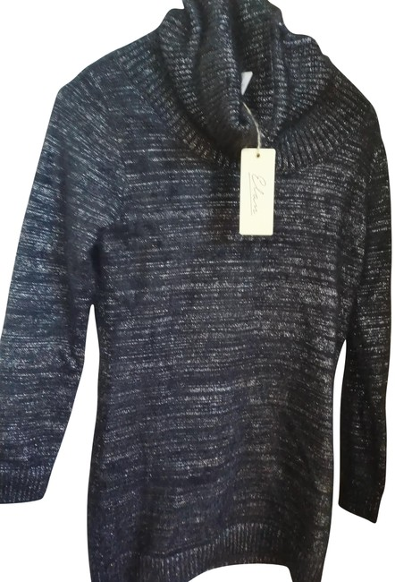 Item - L Thick Cowneck with Metallic Thread Pewter Black Sweater