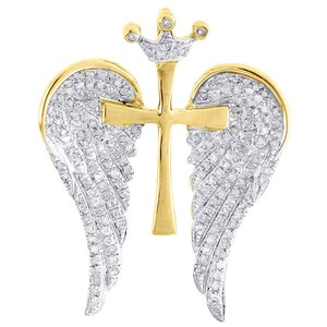 Jewelry For Less Diamond Cross Wings Pendant 10K Yellow Gold Pave Angel Charm 0.60 Tcw