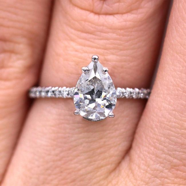 Diana M Petite and Elegant Pear Cut Diamond Ring.gia Certified Engagement Ring Diana M Petite and Elegant Pear Cut Diamond Ring.gia Certified Engagement Ring Image 1
